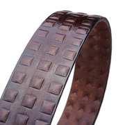 Retro Men's First Layer Cowhide Pyramids Carved Alloy Buckle Belts
