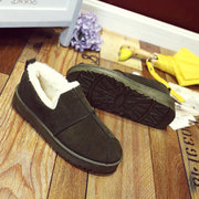 Stitching Pure Color Warm Fur Flat Boots For Women