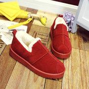 Колющие Чистый цвет теплый меховой плоские ботинки для женщин