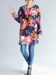 Folk Printed Long Sleeve O Neck Cotton Thickening Women Dress