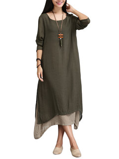 Casual Solid Lined Vintage Long Sleeve Women Maxi Dresses