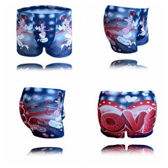 Men's Cotton Blend Briefs Love Angel Cartoon Printing Underwear Boxers