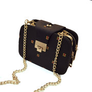 Woman PU Chain Pack 3 Layer Crossbody Bag Vintage Double Layer Shoulder Bag