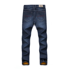Winter Business Casual Thicken Warm Slim Washable Straight Leg Jeans for Men