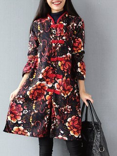Folk Floral Female Loose Mandarin Collar Button Women Coat