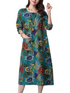 Повседневная печать O-образным вырезом с длинным рукавом Карманный Straight платье для женщин