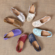 Big Size Pure Color Hollow Out Lace Up Breathable Flat Loafers