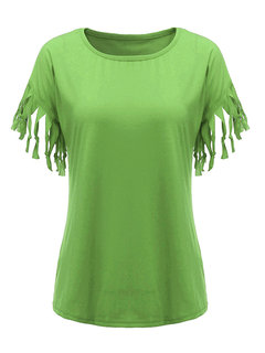 Casual Pure Color Tassel Patchwork O-Neck T-Shirt For Women