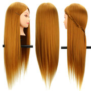 26 Inch 30% Real Human Hair Long Hairdressing Salon Mannequin Training Head With Clamp