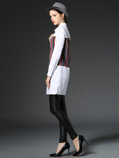 Elegant Stripe Patchwork Lapel Split Long Blouse For Women