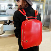 Vintage Candy Color PU Leather Women Backpack