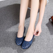 Weave Leather Pure Color Flat Slip On Soft Comfortable Hollow Out Loafers