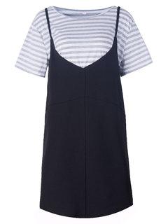 Женщины O-образным вырезом в полоску футболка из двух частей ремни платье