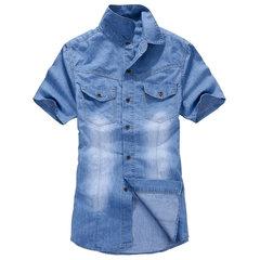 Summer Spring Mens Blue Denim Front Pockets Slim Fit Short sleeved Shirts