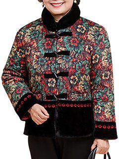 Casual Women Flower Printed Plate Buttons Stand Collar Thicken Coat