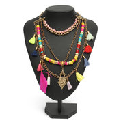 Sweet Colorful Necklace Wood Beads Tassel Triangle Women Necklace