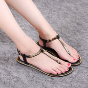 Metal Color T Strap Clip Toe Buckle Flat Sandals Gladiators