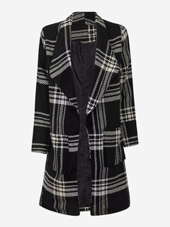 Women Grid Print Lapel Neck Long Sleeve Woolen Coat