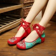 Floral Embroidery Canvas National Wind Strappy Color Match Lace Up Flat Shoes