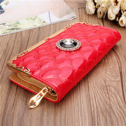 Women Elegant Plaid Casual Long Wallet Candy Color Leisure Cash Cards Purse