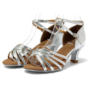 Pure Color Tango Latin Dance Shoes Buckle High Heel Sandals