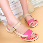 Leather Color Match Peep Toe Fish Toe Hook Loop Strappy Flat Sandals