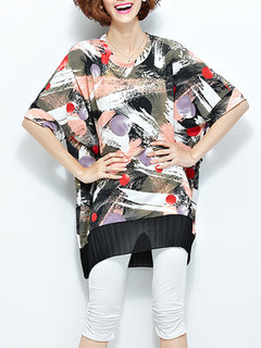 Fashion Women Printed Batwing Sleeve Patchwork Mid-Length Blouse