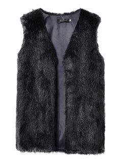 Секс искусственного меха рукавов Средние Длинные Женщины жилет куртка пиджаки