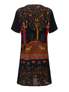 Chinese Style Printed Dress Short Sleeve V Neck Dress