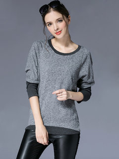 Autumn Casual Elegant Round Neck Long Sleeve Patchwork Blouse For Women