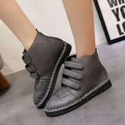 Three Hook Loop Stitching Flat Ankle Casual Boots