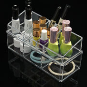2 Layers Acrylic Clear Makeup Cosmetic Stand Display Organizer Container Storage