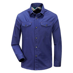 Mens Solid Color Outdoor Millitary Overall Front Pockets Long Sleeve Casual Cotton Shirts