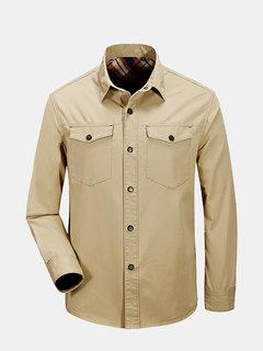 Мужские Solid Color Открытый Millitary Общий передние карманы с длинным рукавом Повседневная Хлопок Рубашки