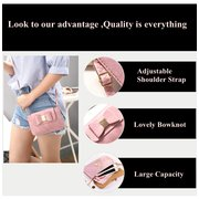 Bowknot Double Layers PU Leather Wallet 6/6.3inch Shoulder Phone Bag For iPhone Samsung Xiaomi Sony