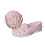 Bead Crystal Slip On Flat Casual Color Match Shoes