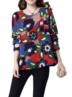 Women Casual Fashion Geometry Printed Round Neck Long Sleeve Thicken Blouse