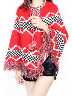 Women Christmas Knitting Print Thicken Tassels Cloak