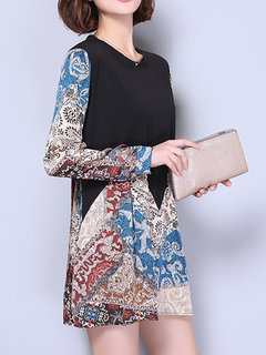Elegant Printed Patchwork Long Sleeve Mini A-Line Dress For Women