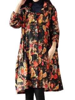 Women Floral Printed Long Sleeve Lapel Pocket Loose Thick Coat