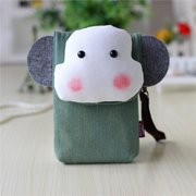 Woman 6 Inch Phone Bag Canvas Cute Animal Storage Bag Crossbody Bag