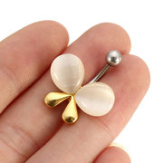 Crystal Belly Navel Bar Ring Butterfly Body Piercing Jewelry