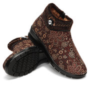 Floral Zipper Bead Crystal Fur Lining Warm Ankle Short Boots For Women