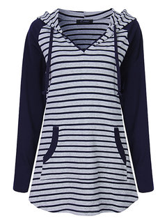 O-NEWE Autumn Women Casual Loose V Neck Hooded Striped Patchwork Sweatshirt