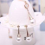 Pearl Jewelry Set Alloy Rhinestone Drop Earrings Necklace Set
