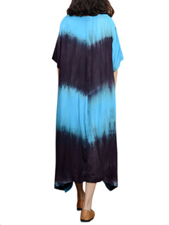 Loose Women Contrast Color O-Neck Short Sleeve High Low Dress