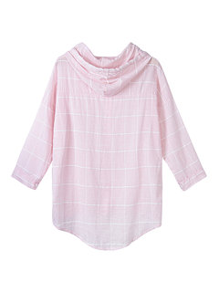Women Casual Plaid Hooded Drawstring Button Long Sleeve Blouse
