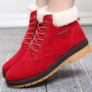 Metal British Style Lace Up Ankle Fur Lined Short Boots