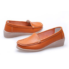 Pure Color Leather Slip On Flat Wedge Heel Loafers