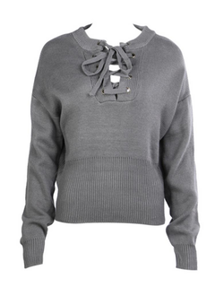 Women Casual Cross Strap Solid Color V-neck Long Sleeve Sweater